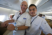 Airbus A380 first commercial flight - Singapore Airlines SQ 380 Singapore-Sydney on October 25, 2007. Chefs Matt Moran (Sydney) and Sam Leong (Singapore).
