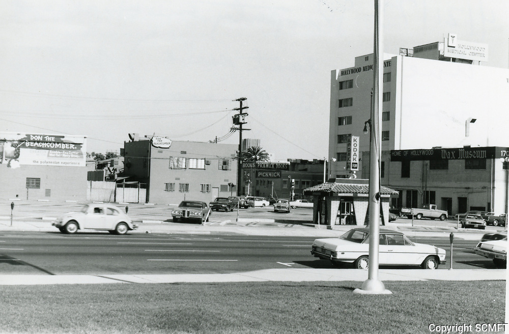 1973 Parking lot on east side of Highland Ave., north of Hollywood Blvd.