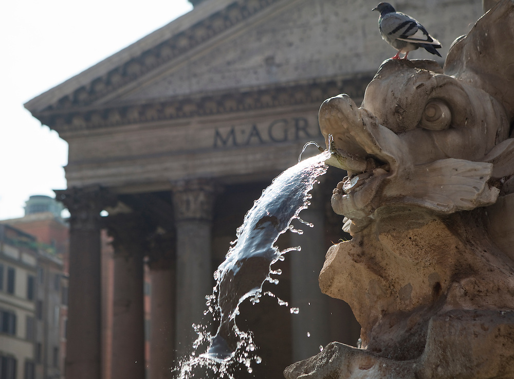 Fountain at the center of Piazza della Rotonda, also known as the Pantheon Square, in Rome, in Italy.