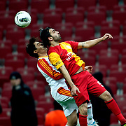 Galatasaray's Engin Baytar (R) during their Turkish Super League soccer match Galatasaray between Kayserispor at the TT Arena at Seyrantepe in Istanbul Turkey on Saturday, 11 February 2012. Photo by TURKPIX