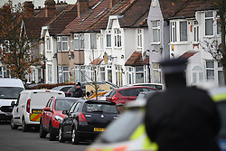 © Licensed to London News Pictures. 26/11/2020. London, UK.  Police at the scene at Drew Gardens, Greenford, West London where a murder investigation has been launched following the discovery of a 62-year-old woman who died from from head injuries at a residential address. Photo credit: Ben Cawthra/LNP