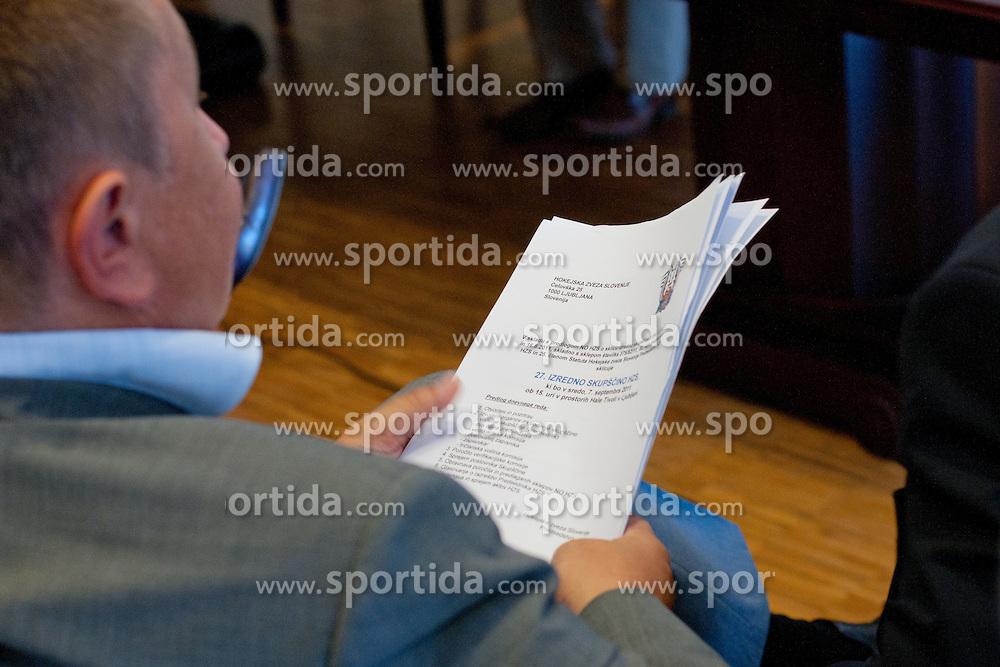 Marko Schulz na skupscini Hokejske zveze Slovenije, on September 7, 2011, in Ljubljana, Slovenia. (Photo by Matic Klansek Velej / Sportida)