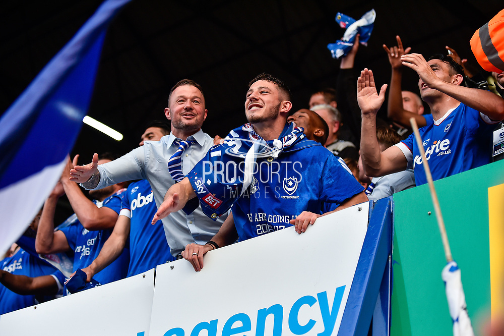 Portsmouth Players Celebrate winning league two on the final day of the season Portsmouth Forward, Conor Chaplin (19) during the EFL Sky Bet League 2 match between Portsmouth and Cheltenham Town at Fratton Park, Portsmouth, England on 6 May 2017. Photo by Adam Rivers.