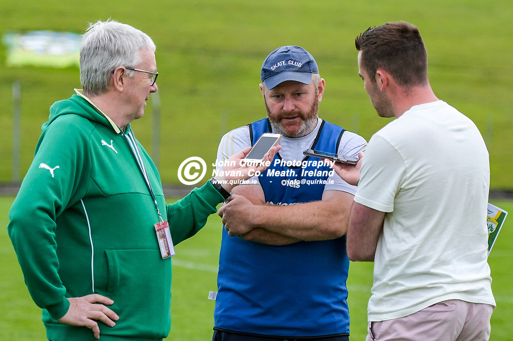 Meath hurling manager Nick Weir, talks to the media after  the Meath v Kerry,  Joe McDonagh Cup match at Pairc Tailteann, Navan.<br /> <br /> Left Conall Collier, Meath Chronicle Sports Editor and <br /> <br /> Photo: GERRY SHANAHAN-WWW.QUIRKE.IE<br /> <br /> 10-07-2021