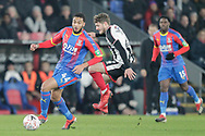 Grimsby Town defender Reece Hall-Johnson (2) challenges Crystal Palace midfielder Jairo Riedewald (44) during the The FA Cup 3rd round match between Crystal Palace and Grimsby Town FC at Selhurst Park, London, England on 5 January 2019.