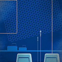 Vintage retro computer console networking illustration in blue