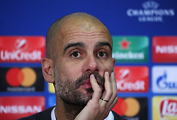 December 7, 2017 - Kharkov, Ukraine - Manchester City's Pep Guardiola at a press conference after the defeat in the Champions League group F soccer match between Manchester City and Shakhtar Donetsk at the Metalist Stadium in Kharkov. Ukraine, Wednesday, December 6, 2017  (Credit Image: © Danil Shamkin/NurPhoto via ZUMA Press)