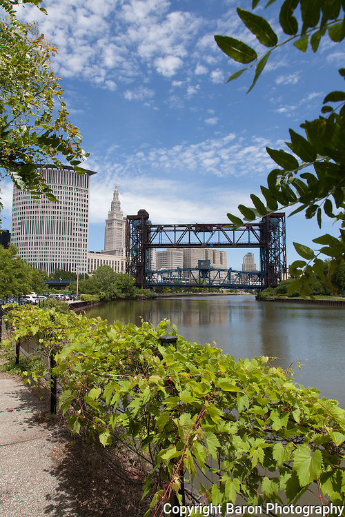 Cleveland skyline from the Cuyahoga River during the day