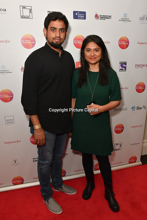 Sriram Raja,Deyali Mukherjee is a producer attends the UK Asian Film Festival closing flame awards gala - Red Carpet at BAFTA 195 Piccadilly, on 7 April 2019, London, UK