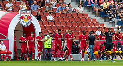 SALZBURG, AUSTRIA - Tuesday, August 25, 2020: Liverpool players walk out in front of supporters for the first time since March as FC Red Bull Salzburg allow 1,250 fans in as a test during a preseason friendly match between FC Red Bull Salzburg and Liverpool FC at the Red Bull Arena. Naby Keita, Neco Williams, Andy Robertson, Joe Gomez, Fabio Henrique Tavares 'Fabinho', Georginio Wijnaldum, goalkeeper Alisson Becker. (Pic by Propaganda)