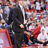 11 May 2014: Oklahoma City Thunder head coach Scott Brooks is seen during the Los Angeles Clippers 101-99 victory over the Oklahoma City Thunder, during Game Four of the Western Conference Semifinals of the NBA Playoffs, at the Staples Center, Los Angeles, California, USA.