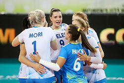 Players of Slovenia celebrate during the volleyball match between National team of Slovenia and Dominican Republic in Preliminary Round of Womens U23 World Championship 2017, on September 4, 2017 in SRC Stozice, Ljubljana, Slovenia. Photo by Morgan Kristan / Sportida