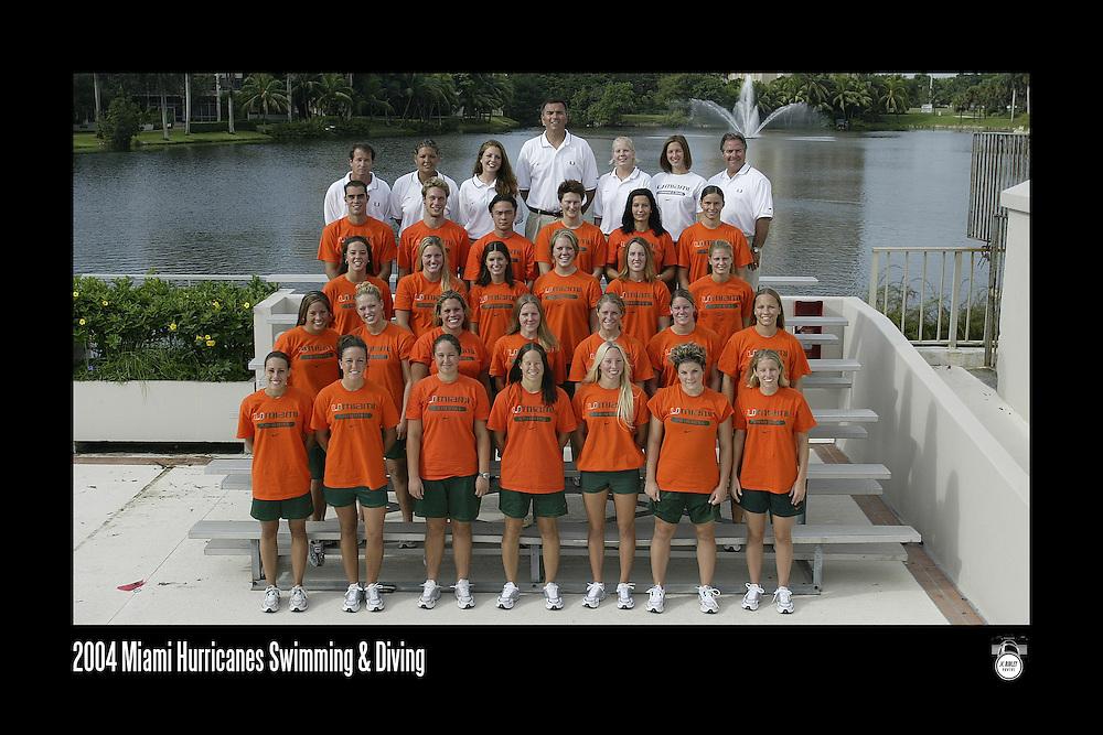 2004 Miami Hurricanes Swimming & Diving Team Photo