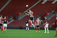 Southampton Sam Gallagher wins the ball in the air during the Barclays U21 Premier League match between U21 Southampton and U21 Manchester United at the St Mary's Stadium, Southampton, England on 25 April 2016. Photo by Phil Duncan.