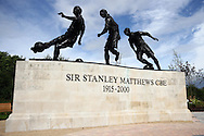 a Statue outside the stadium dedicated to Sir Stanley Matthews. Barclays Premier League match, Stoke city v West Bromwich Albion at the Britannia stadium in Stoke on Trent, Staffs on Saturday 29th August 2015.<br /> pic by Chris Stading, Andrew Orchard sports photography.