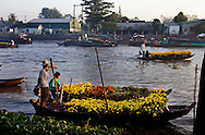 Two boats await their time to bring their yellow flowers to the Phong Dien market in Can Tho. Prior to Tet, the Lunar New Year celebration, the markets are flooded with flowers. The flowers are purchased for homes and kept for good luck. Robert Dodge, a Washington DC photographer and writer, has been working on his Vietnam 40 Years Later project since 2005. The project has taken him throughout Vietnam, including Hanoi, Ho Chi Minh City (Saigon), Nha Trang, Mue Nie, Phan Thiet, the Mekong, Sapa, Ninh Binh and the Perfume Pagoda. His images capture scenes and people from women in conical hats planting rice along the Red River in the north to men and women working in the floating markets on the Mekong River and its tributaries. Robert's project also captures the traditions of ancient Asia in the rural markets, Buddhist Monasteries and the celebrations around Tet, the Lunar New Year. Also to be found are images of the emerging modern Vietnam, such as young people eating and drinking and embracing the fashions and music of the West. His book. Vietnam 40 Years Later, was published March 2014 by Damiani Editore of Italy.