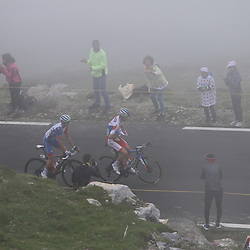 LUZ ARDIDEN (FRA) CYCLING: July 15<br /> 18th stage Tour de France Pau-Luz Ardiden<br /> Images from the Col du Tourmalet<br /> The leaders Pierre Latour and David Gaudu on the Tourmalet
