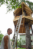 Builder Bob Cosco has single handedly built this Tree House located on in Laconia. (Karen Bobotas/for the Laconia Daily Sun)