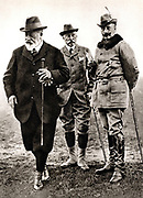 William II (1859-1901) Emperor of Germany 1888-1919, right, with his uncle Edward VII of Britain at a shooting party at Windsor, England, November 1907.  The figure in the centre is the Duke of Connaught.