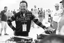 Shinya Kimura on the sands of Daytona Beach just before the start of the Motorcycle Cannonball. Stage 1 of the Motorcycle Cannonball Cross-Country Endurance Run, which on this day ran from Daytona Beach to Lake City, FL., USA. Friday, September 5, 2014.  Photography ©2014 Michael Lichter.