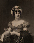 Germaine de Stael (1766-1817) French woman of letters, novelist, intellectual, and political propagandist. Daughter of the banker Jacques Necker. Engraving after the portrait by Francois Gerard.  From 'The Gallery of Portraits', Vol VI, by Charles Knight