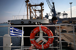 """Greek sailor Theodros Tsikis is onboard the Euripos, a small Greek cargo ship docked in Limassol, Cyprus on Feb. 22, 2008. Cyprus is the crossroads of international ship management and where all the agencies are recruiting and hiring the cheapest workers worldwide. Cyprus is also one of the """"Flag-of-Convenience"""" States like Panama and Liberia."""