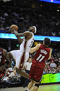 LeBron James of Cleveland goes up for a lay up.. The Miami Heat lost to the host Cleveland Cavaliers 84-76 at Quicken Loans Arena, April 13, 2008...