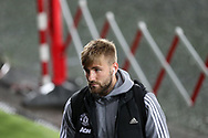 Luke Shaw of Manchester Utd  arrives at the stadium. EFL Carabao Cup 4th round match, Swansea city v Manchester Utd at the Liberty Stadium in Swansea, South Wales on Tuesday 24th October 2017.<br /> pic by  Andrew Orchard, Andrew Orchard sports photography.