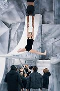 """Understudies for """"Cirque du Soleil: CRYSTAL"""" practice a routine during rehearsal at the Alliant Energy Center in Madison, WI on Wednesday, May 1, 2019."""
