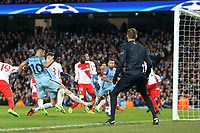Football - 2016 / 2017 UEFA Champions League - Round of Sixteen, First Leg: Manchester City vs. Monaco<br /> <br /> John Stones of Manchester City scoring during the match at the Etihad Stadium.<br /> <br /> COLORSPORT