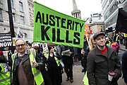 Britain is Broken - General Election Now demonstration against Tory cuts and austerity on 12th January 2019 in London, United Kingdom. Irrespective of which way people voted in the EU referendum, this protest was calling for an end to austerity and homelessness, the nationalisation of rail and other utilities, and ultimately, for a general election to end the Tories power.