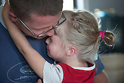 Dad comforting crying daughter age 29 and 5. Zawady Central Poland