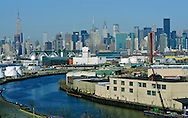 Newton Creek, Queens and Manhattan Skyline , New York City, NY