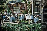 Homeowner decorates their canalside garden, Edam.