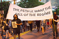 August 13, 2017 - Atlanta, Georgia, U.S - 1000 people gathered in Atlanta's Woodruff Park for a rally preceeding a march to demonstrate opposition to white suppremacy and support for the city of Charlottesville, VA. This followed a white supremacist rally in Charlottesville where an anti-racism protester was killed by a Nazi-sympathizer on the previous afternoon. (Credit Image: © Steve Eberhardt via ZUMA Wire)