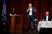 Andy Gronik speaks during the public forum for Democratic gubernatorial candidates at LaFollete High School in Monona, Wisconsin, Sunday, Jan. 28, 2018.