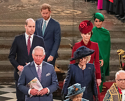 The Duke and Duchess of Sussex, the Duke and Duchess of Cambridge, the Prince of Wales and the Duchess of Cornwall and Queen Elizabeth II during the Commonwealth Service at Westminster Abbey, London on Commonwealth Day. The service is the Duke and Duchess of Sussex's final official engagement before they quit royal life.