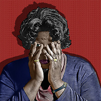 In this powerful image, we see an older black woman with her hands over her face. She is trying to cover them up, but we can see a single eye peering out at us from behind her weary hands. This is a powerful reminder of the way we close our eyes to racism. Some of us look with only one eye, hidden behind our trembling hands. This black and white with color piece reminds us that it is not simply enough to look with a partial gaze. We must stare back at racism with both eyes. .<br /> <br /> BUY THIS PRINT AT<br /> <br /> FINE ART AMERICA<br /> ENGLISH<br /> https://janke.pixels.com/featured/peeping-jan-keteleer.html