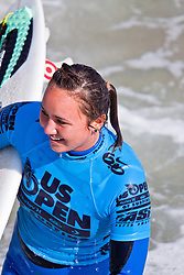 HUNTINGTON BEACH, California/USA (Saturday, August 7, 2010) Carissa Moore reacts after defeating Sally Fitzgibbons of Australia to win  the Hurley US Open of Surfing. Photo: Eduardo E. Silva.