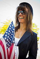 Merrick, New York, USA. 27th May 2013. MARGARET BIEGELMAN, Merrick Post 1282 American Legion Auxiliary member, is participating in the Annual Memorial Day Parade 2013, with ceremony at Merrick Veteran Memorial Park.