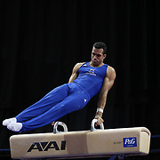 Danell Leyva, Homestead, Florida, in action on the Pommel horse during the Senior Men Competition at The 2013 P&G Gymnastics Championships, USA Gymnastics' National Championships at the XL, Centre, Hartford, Connecticut, USA. 16th August 2013. Photo Tim Clayton