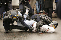 """Paris, France - Place de la Republique....March 28, 2006....Confrontations between vandals (""""casseurs"""") and the CRS police after a very large peaceful demonstration of students and union members, against the CPE, The Contract of First Employment....Photo by Owen Franken - Photograph by Owen Franken"""