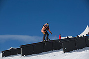 British professional snowboarder, Katie Ormerod during the 2017 Laax Open Slopestyle competition on 15th January 2017 in Laax, Switzerland. The Laax Open is a FIS Snowboarding World Championship competition in Laax ski resort.