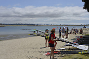 San Diego, California. USA.  General Views of the Boat Storage and Beach boating area. crews at the 2013 Crew Classic Regatta, Mission Bay.  06:53:22.  Saturday  06/04/2013   [Mandatory Credit. Peter Spurrier/Intersport Images]  ..