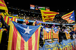 February 6, 2019 - Barcelona, BARCELONA, Spain - FC Barcelona fans claiming for the Catalan Independence with Catalonia flags and proclams during the semi-final first leg of Spanish King Cup / Copa del Rey football match between FC Barcelona and Real Madrid on 04 of February of 2019 at Camp Nou stadium in Barcelona, Spain (Credit Image: © AFP7 via ZUMA Wire)