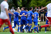 Southern celebrate after scoring their second goal, during the ISPS Handa Premiership match between Southern United and the Canterbury United Dragons, held at Logan Park, Dunedin, New Zealand, 25 January 2020. Copyright Image: Joe Allison / www.Photosport.nz