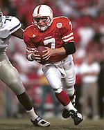 Nebraska quarterback Eric Crouch (7) rushes up field against Kansas State at Memorial Stadium in Lincoln, Nebraska in 1999.