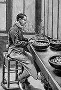 Paris Mint: Testing weight of gold pieces. Wood engraving 1892
