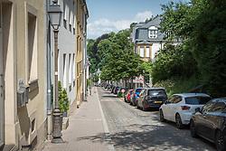 The road of 'Montée de la Pétrusse' towards the area of Grund  in Luxembourg.