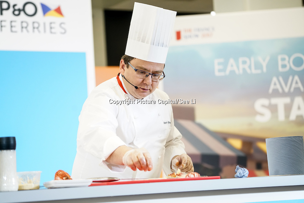 London, UK. 27th January, 2017. Susy Atkins with a French chef talks at The France Show 2017 at Olympia London chef demonstration. Credit: See Li.